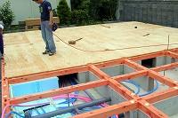 1階床下地28mm構造合板施工状況