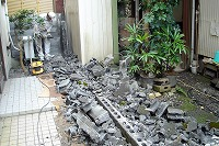 既設ブロック塀解体状況