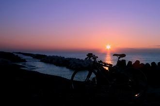 久能海岸(朝陽を浴びて)