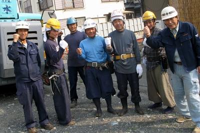 鉄骨建方作業メンバーこの意気込みで頑張ります